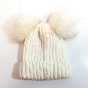 Cable Knit Double Pom-Pom Beanie
